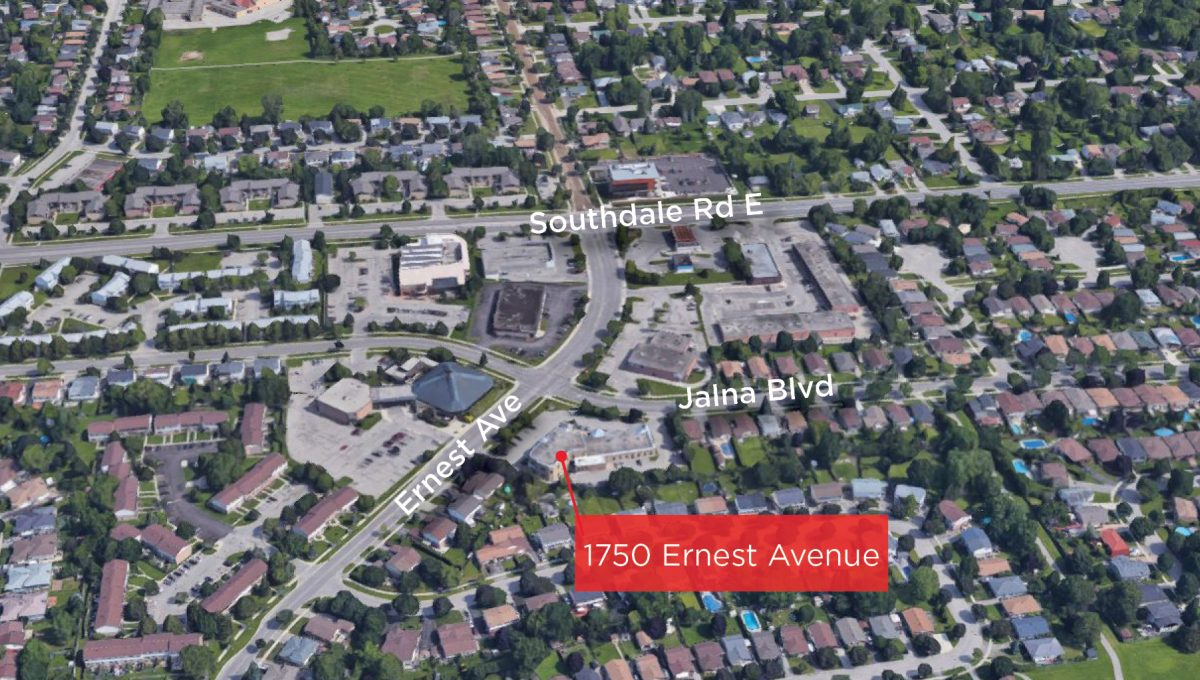 Ernest Ave. 1750, Unit 202 - Aerial- 01 (Facing North - Labeled))