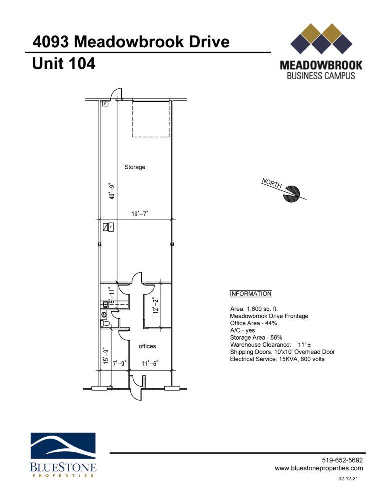 4093 Meadowbrook Dr, Unit 104 - Floor Plan