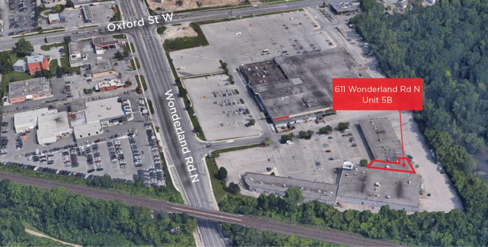 Wonderland Rd. N. 611, Unit 5B - Aerial (labeled)