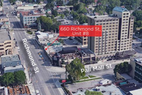 Richmond St. 660, Unit 8 - Aerial (labeled)