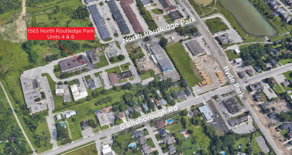 North Routledge Park 1565, Units 4 & 6 - Aerial (labeled)