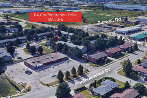Confederation Dr. 114, Units 3-5 - Aerial (labeled)