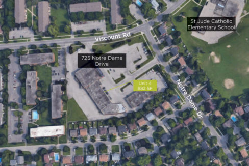 Notre Dame St. 725 - Aerial 02 (Unit 4 labeled)