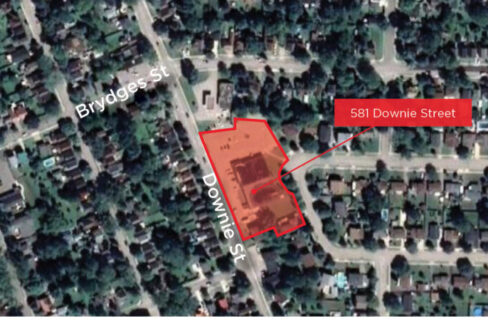 Downie St. 581 - Aerial (labeled)