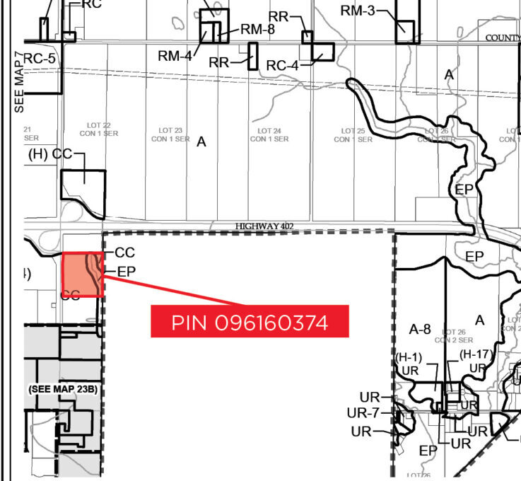 PIN 096160374 - Zoning Map (labeled) - Zoomed In