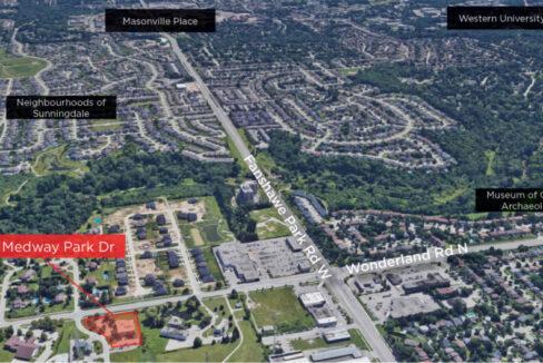 Medway Park Dr 850 - Aerial (Labeled)