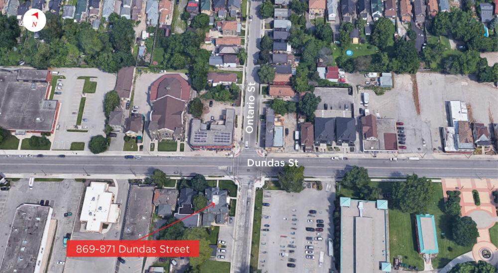 Dundas St. 869-871 - Aerial (labeled)