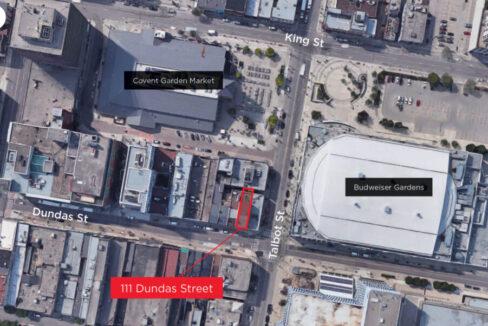 Dundas St. 111 - Aerial - 01 (labeled)