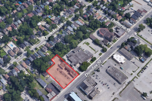Dundas St. 798-812 - Aerial - 02 (labeled)